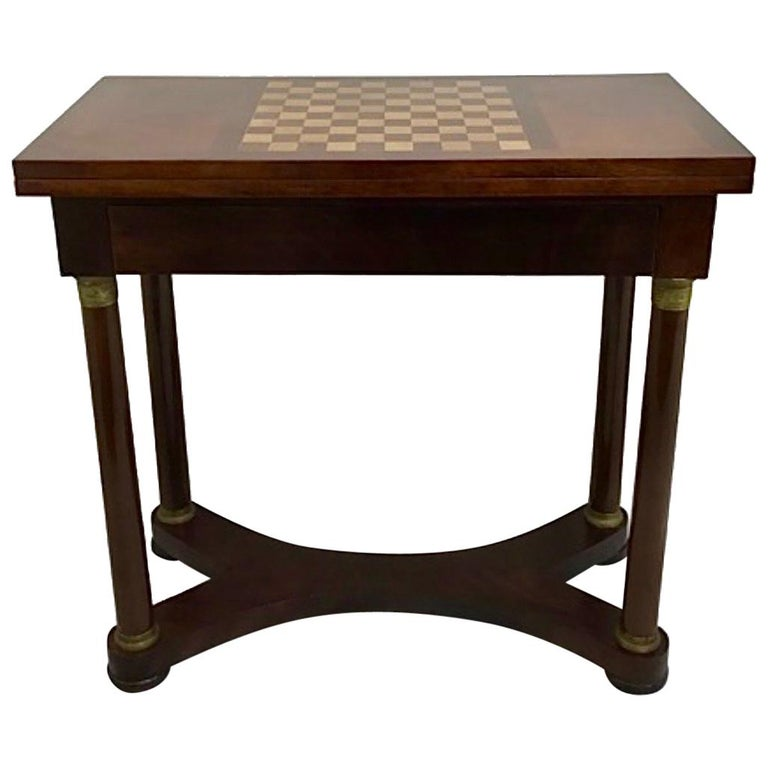 Antique French Empire Mahogany Game Table, 19th Century
