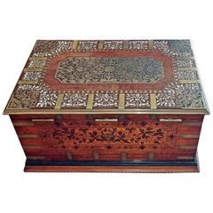 19 Century Anglo Indian Stationery Campaign Chest with Secret Drawers