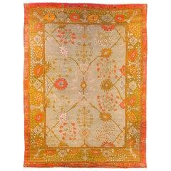 Early 19th Century Arts & Crafts Era Oushak Carpet