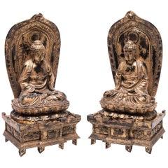 Pair of Early 20th Century Japanese Gilt Sakyamuni Buddhas with Steles