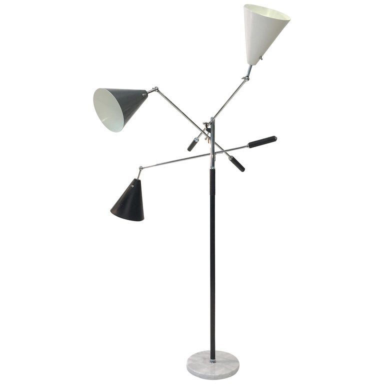 Triennale Floor Lamp Tri-Color, Chrome and Marble by Denis Casey For Sale