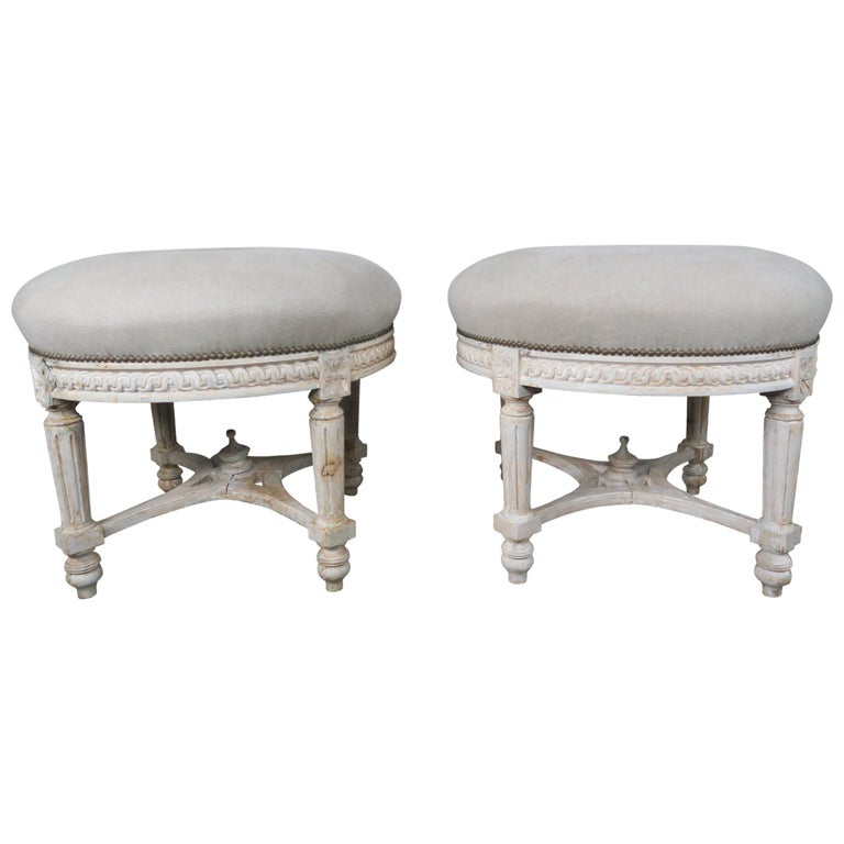 French Painted Neoclassical Style Stools, Pair