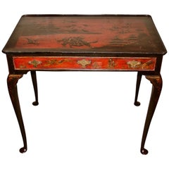 Georgian Red Japanned Side Table with Drawer
