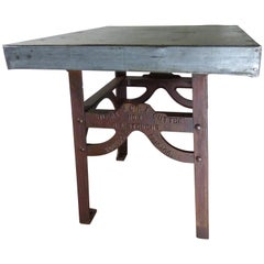 1890s Cast Iron Meat Cutting Table Island from B.A. Stevens Co.