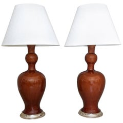 "Pair of Tall Christopher Spitzmiller ""Marjorie"" Amber Lamps"