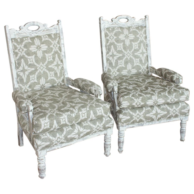 Pair of English Edwardian Upholstered Library Chairs