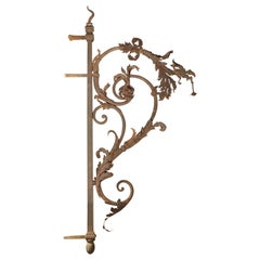 Large 19th Century Forged Iron Lantern Holder from Poitiers France
