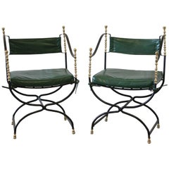 Pair of Iron and Brass Campaign Chairs