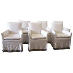 Set of Six Linen Slip Covered Armchairs