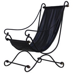 Scrolled Iron Sling Lounge Chair