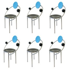 Set of Six Italian Memphis Dining Chairs by Michele De Lucchi