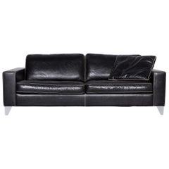 Activineo Designer Leather Sofa Black Two-Seat Couch