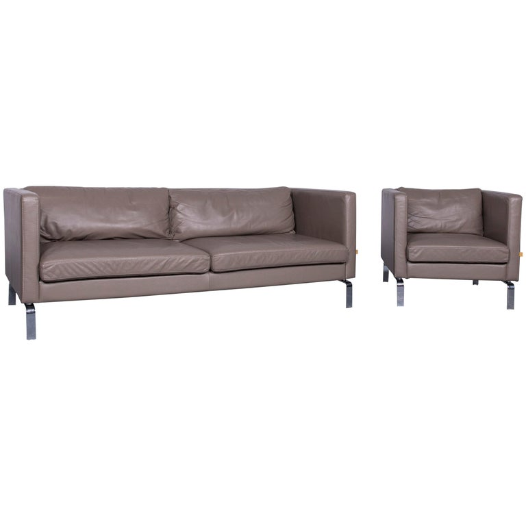 Furninova Designer Sofa Armchair Set Grey Two Seat Leather Couch For