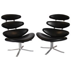 Set of Two Corona Easy Chairs, Model EJ 5, by Poul M. Volther and Erik Jørgsen