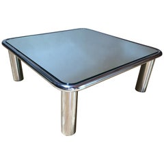 Mario Bellini Mirror Top Chrome Coffee Table for Cassina