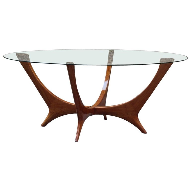 Elegant Italian Coffee Table Round Cherry Wood Glass Top