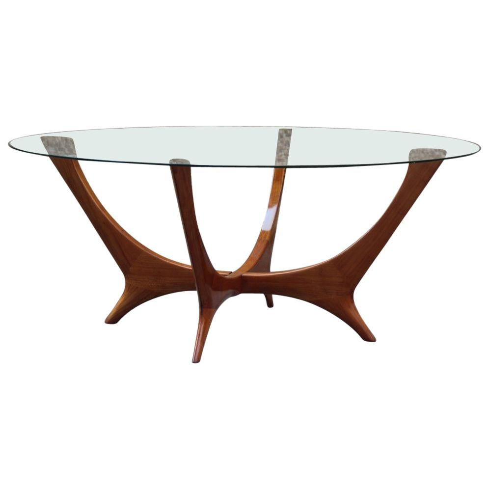 Elegant Italian Coffee Table Round Cherry Wood Glass Top Mid Century Modern  For Sale