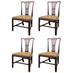 Set of Four 19th Century Chippendale Style Chairs from an English Atlanta Estate