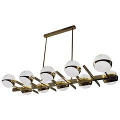 Brass and Lattimo Glass Chandelier 10 Spheres Stilnovo Designed for Light Output