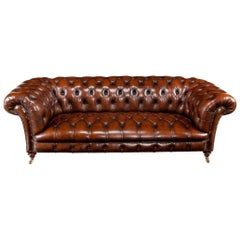 Wonderful 19th Century Deep Buttoned Leather Chesterfield by James Shoolbred