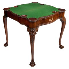 Howard and Sons Mahogany Card Table with Concertina Action Irish Georgian Style