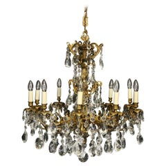 French Gilded Bronze and Crystal 19th Century Antique Chandelier