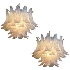 Pair of Italian Modernist Iridescent Murano Glass Chandelier, 1980