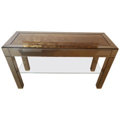 High End Mirrored Console Table with Gold Leaf Inserts