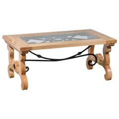 Spanish Olivewood and Iron Rustic Designer Coffee Table