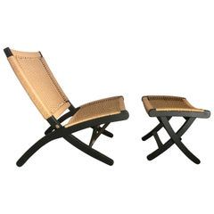 Hans Wegner Style Rope Chair and Ottoman