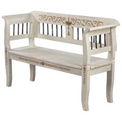 Painted Dutch Provincial Bench, Early 1900s