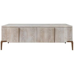 Khepera Credenza / Contemporary Media Console in Aged Oak, Bronze Patina Legs