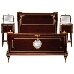 F. Linke Attributed, Louis XVI Style Veneered Wood Bedroom Set