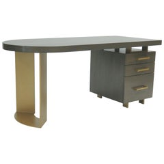 DK-86 Desk with Racetrack End and File Pedestal by Antoine Proulx