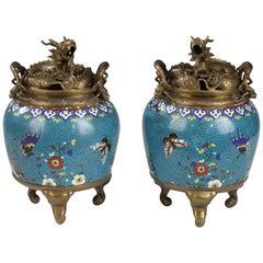Lovely Chinese Cloisonné Enamel Pair of Jars