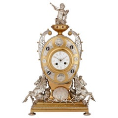 Antique English Ormolu and Silvered Bronze Mantel Clock