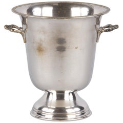 Italian Silver Metal Ice Bucket from Giuliano Bossi, Midcentury