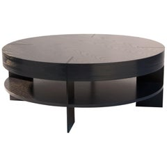 CT-91S Round Coffee Table with Shelf and Metal Legs by Antoine Proulx