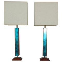 Mid-Century Modern Modeline Walnut Table Lamps