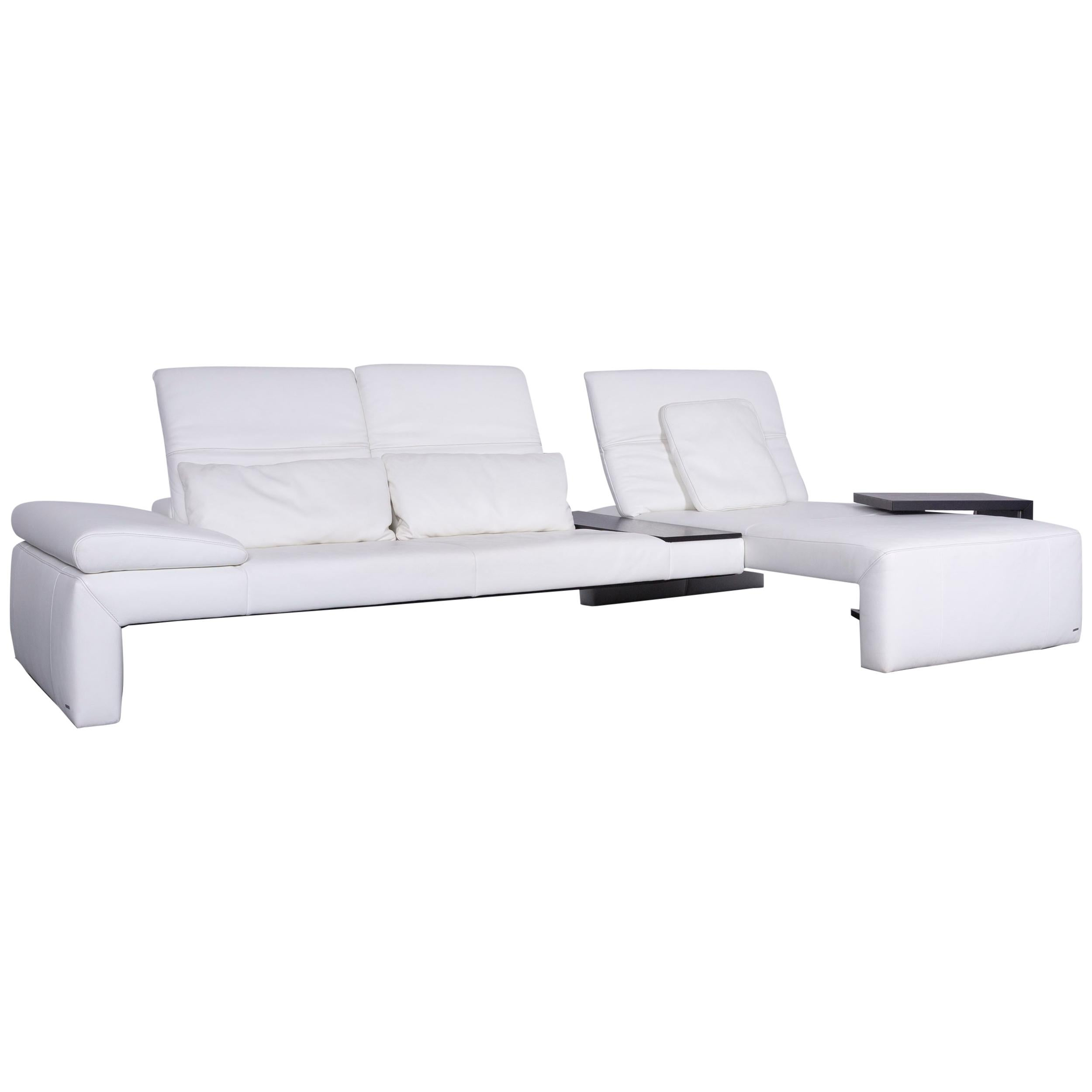 Koinor Designer Leather Corner Sofa In White With Functions