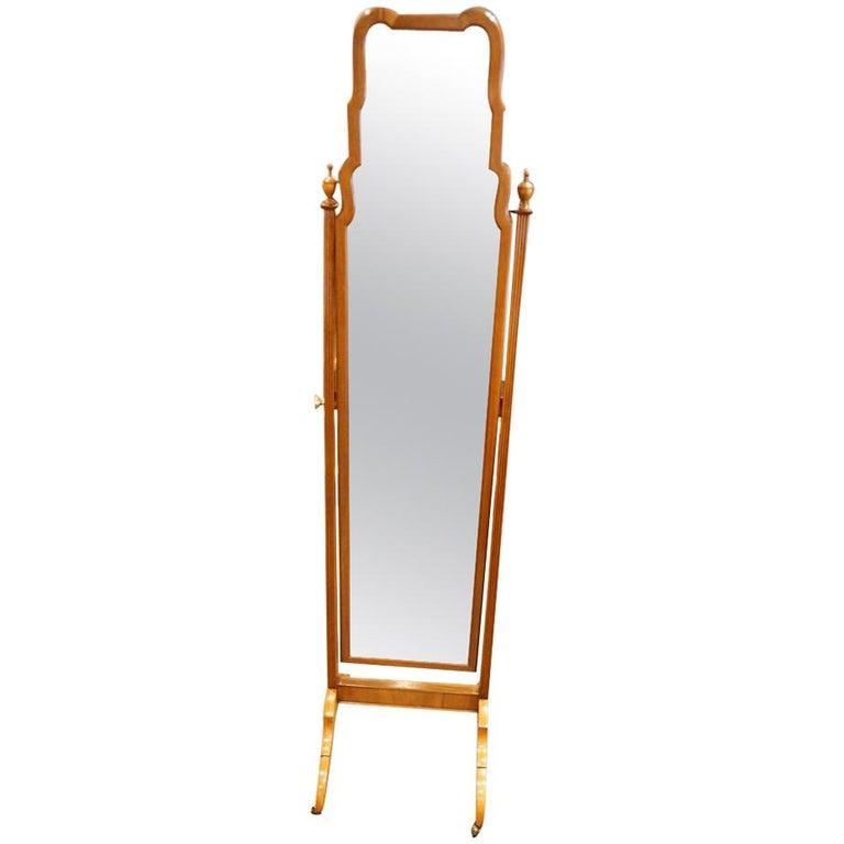 1930s Walnut Cheval Dressing Mirror