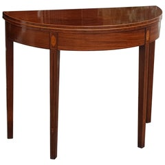 Sheraton Period Mahogany Demilune Tea Table
