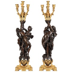 "Sophisticated Pair of Candelabra ""Cupid and Psyche"""