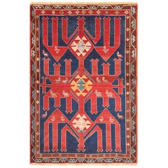 Small Tribal Antique Caucasian Avar Rug