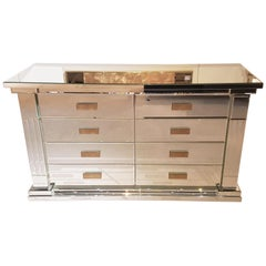 High Gloss Mirrored Drawer Commode, Modern Design