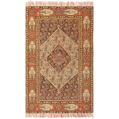 Silk and Wool Antique Persian Senneh Rug