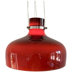 Red Triple Layered Brown/Red Glass Pendant Light, Europe, 1960s