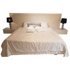 Matt White Bed Set with Integrated Nightstands