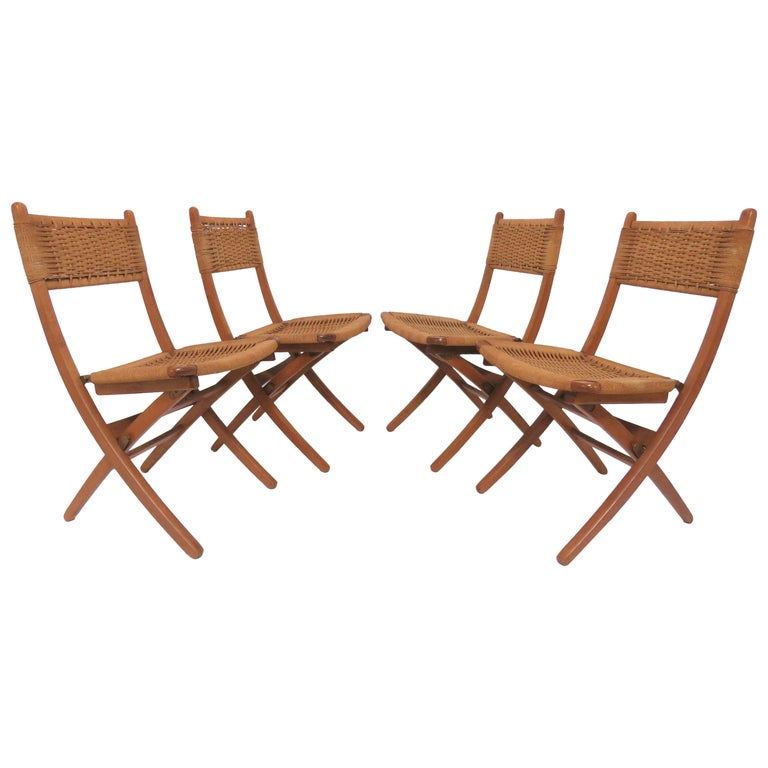 Set of Four Danish Modern Folding Teak and Rope Dining Side Chairs, circa 1960s