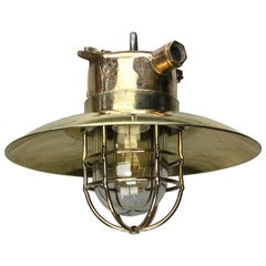 Late Century German Cast Brass and Glass Explosion Proof Pendant Light Wire Cage